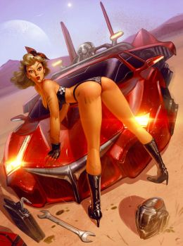 Sci-fi Car PinUp 1 by antoniodeluca