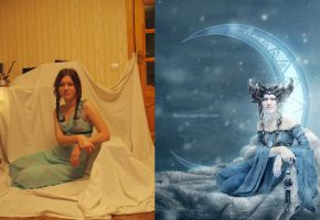 The Moon Goddes - before and after by Dferous