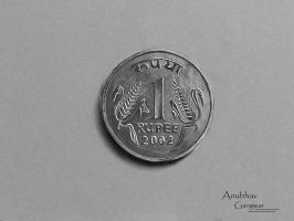 Old 1 Rupee Coin - Drawing by Anubhavg