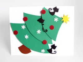 Cat Christmas Tree Greeting Card by sobeyondthis