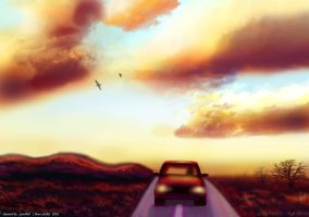 Sunset on road by syren007