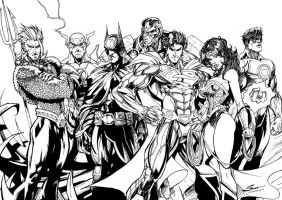 Justice League - Hand inking by J-Skipper