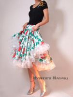 White Floral Full Circle Skirt by yystudio