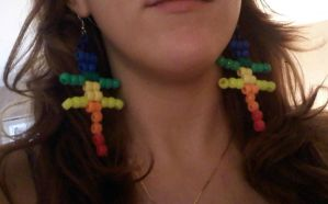 Kandi Rainbow Lizard Earrings by EllasDesigns