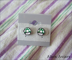 Green Mushroom Earrings by alienaviary