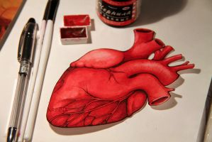 Human heart postcard. by Krinna