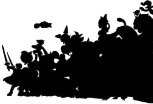 SSBM Silhouette of Whole Cast by Chaosky87