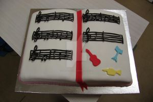Music Sheet Book Cake by The-Ice-Flower