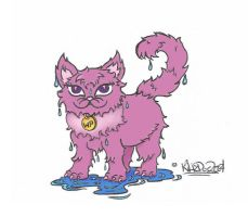 wet kitty colored by kili