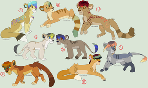 Colorful Lion Adoptables :CLOSED: by LizzysAdopts