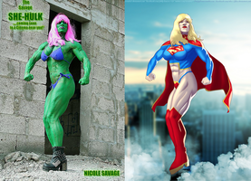 Nicole Savage She-Hulk As Supergirl By Ulics by zenx007