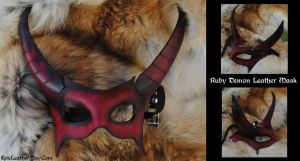Ruby Demon Leather Mask by Epic-Leather