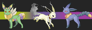 PKMN: Eeveelutions (Bug, Ghost and Poison) by Phantomania