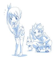 Lucy, Natsu and Happy - Fairy Tail by Zeref-ftx