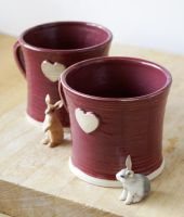 Set of two heart mugs by scarlet1800