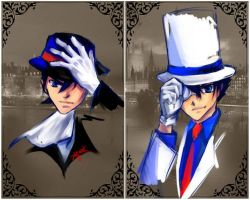 Diptych: Fedoras and Tophats by riteous-laugh