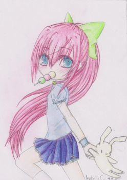 Dango Girl with Bunny Colored by mizu-chanX3