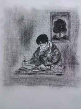 Charcoal  Drawing of my roommate by itsattiq