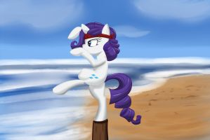 Rarity practice her Crane Stance. by Lomeo