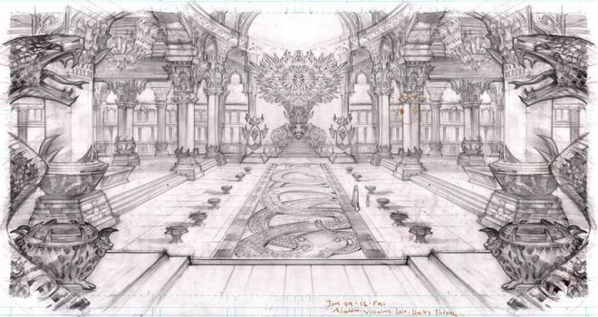 Arabian Nights Set Design: Uncle's Throne Room by DubuGomdori
