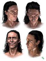 Loki (faces) by LadyMintLeaf