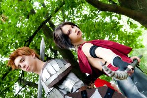 Alistair and Morrigan - Get ready for the battle by Achico-Xion