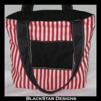 Red and White Striped Purse by BlackStarDesigns