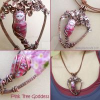 Pink Tree Goddess Necklace by popnicute