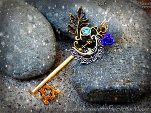 Moon Goddess Key pendant by ArtByStarlaMoore