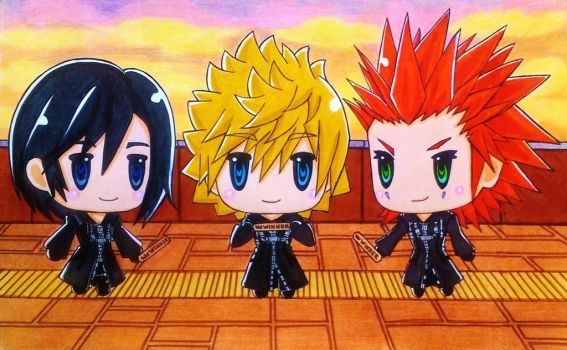 World of Kingdom Hearts: Roxas, Xion and Axel by dagga19