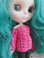 Hand knit boatneck summer sweater for Blythe by kivrin82