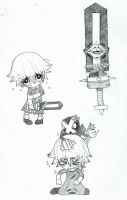 Crona and Ragnarok sketches by Scarefoo