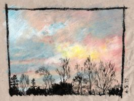 sunset - oil pastel by AndreaSchepisi