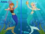 Anna and Elsa as mermaids by Astrogirl500