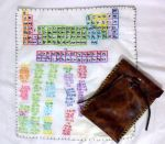 Periodic table embroidered handkerchief and pouch by EruwaedhielElleth