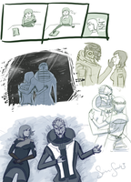 Sketches: Garrus and Fem Shepard 1 by suiren-sarah