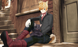 Puppy play with cat by KingdomHeartsNickey