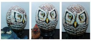 owl on ostrich eggshell by alcat2021