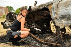 Stacey - Lara and burnt car 3 by wildplaces