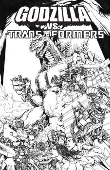 Godzilla vs. Transformers by glovestudios