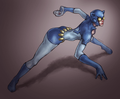 Catwoman + BlueBeetle by JomanMercado