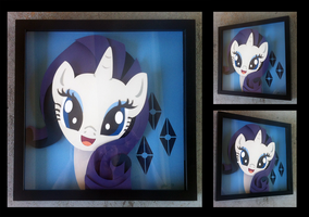 Commission:  Rarity Portrait Shadowbox by The-Paper-Pony