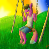 A sunset swing -Commission- by Polo333