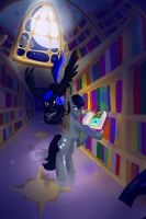 Commission- At the Library by Tzelly-El