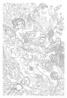 Night of the 80's Undead 3 Cover Pencils by BillMcKay