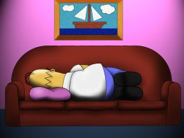 Homer napping by bennettua