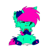 Neon zombie kitten adopt- CLOSED by Frozen-x-Rain