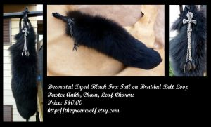 Decorated goth black fox tail by lupagreenwolf