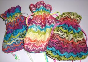 Colorful Net Drawstring Bags by 13anana