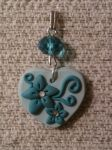 Pendant heart with flowers and cristal fimo by bimbalove81
